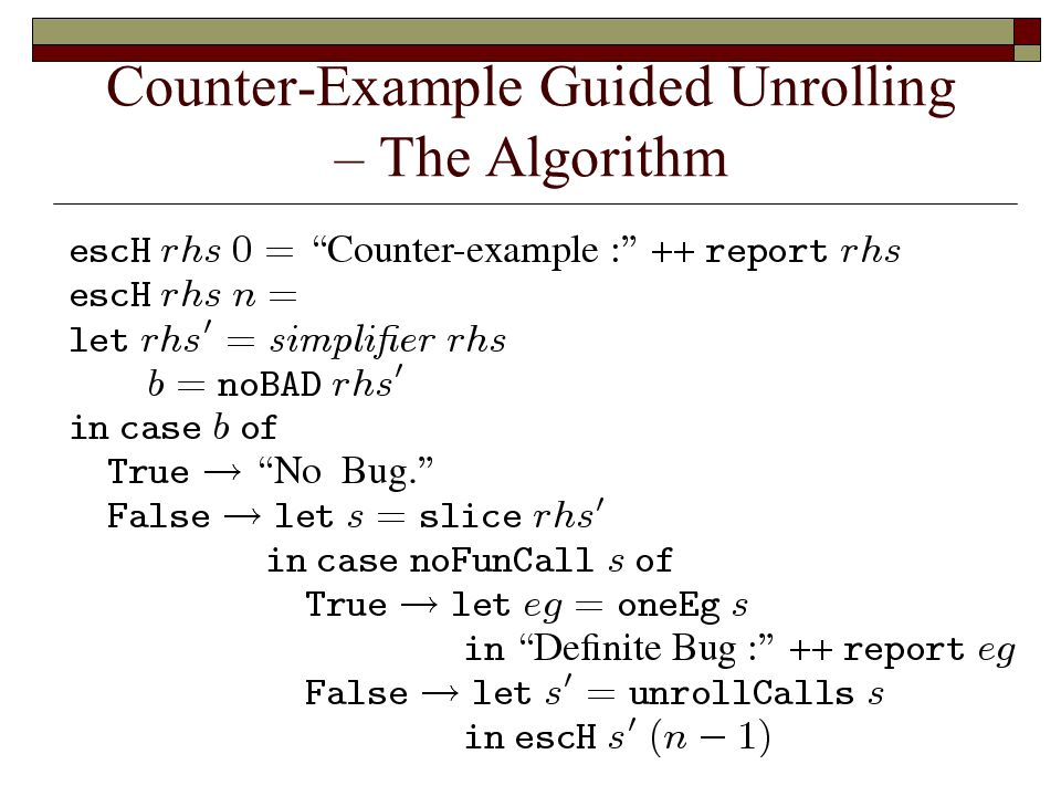 Counter-Example Guided Unrolling – The Algorithm