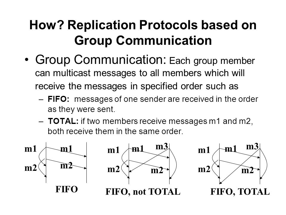How? Replication Protocols based on Group Communication Group Communication: Each group member can multicast messages to all members which will receiv