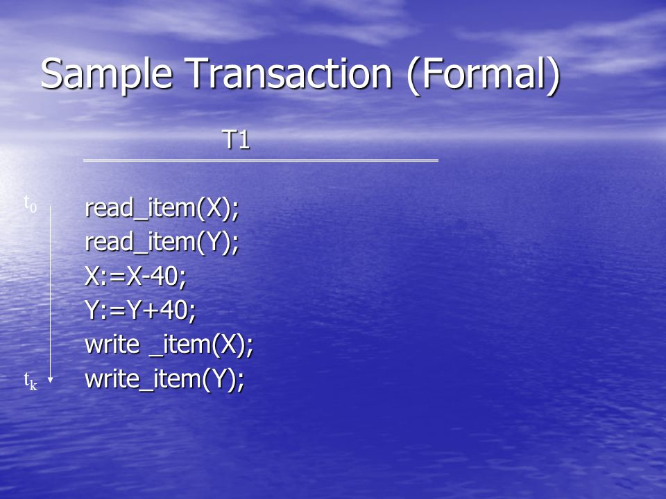 Sample Transaction (Formal) T1read_item(X);read_item(Y);X:=X-40;Y:=Y+40; write _item(X); write_item(Y); t0t0 tktk