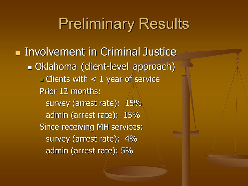Preliminary Results Involvement in Criminal Justice Involvement in Criminal Justice Oklahoma (client-level approach) Oklahoma (client-level approach) Clients with < 1 year of service Clients with < 1 year of service Prior 12 months: survey (arrest rate): 15% admin (arrest rate): 15% Since receiving MH services: survey (arrest rate): 4% admin (arrest rate): 5%