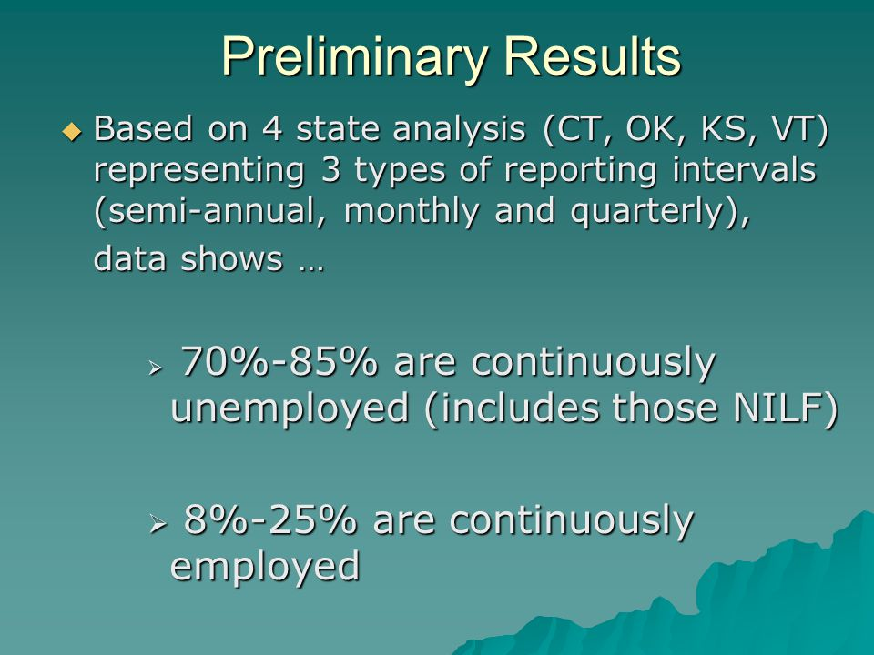 Preliminary Results  Based on 4 state analysis (CT, OK, KS, VT) representing 3 types of reporting intervals (semi-annual, monthly and quarterly), data shows …  70%-85% are continuously unemployed (includes those NILF)  8%-25% are continuously employed