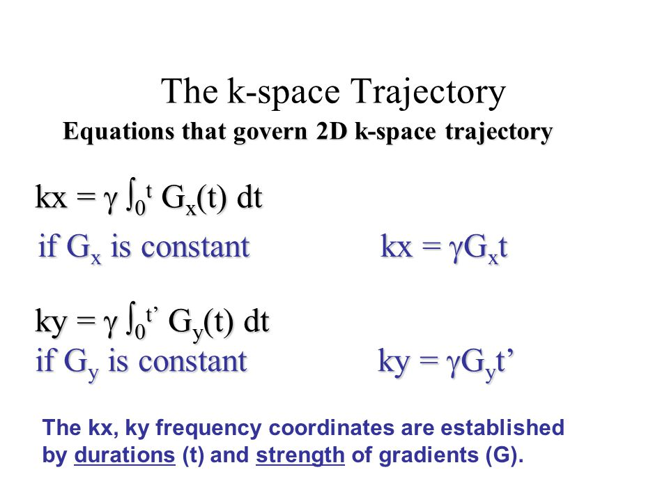 The k-space Trajectory kx =  0 t  G x (t) dt ky =  0 t'  G y (t) dt if G y is constant ky =  G y t' Equations that govern 2D k-space trajecto
