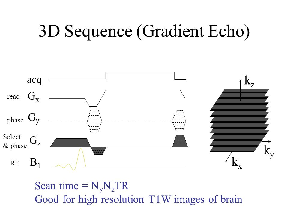 3D Sequence (Gradient Echo) GxGx GyGy GzGz B1B1 acq kxkx kyky kzkz Scan time = N y N z TR Good for high resolution T1W images of brain Select & phase
