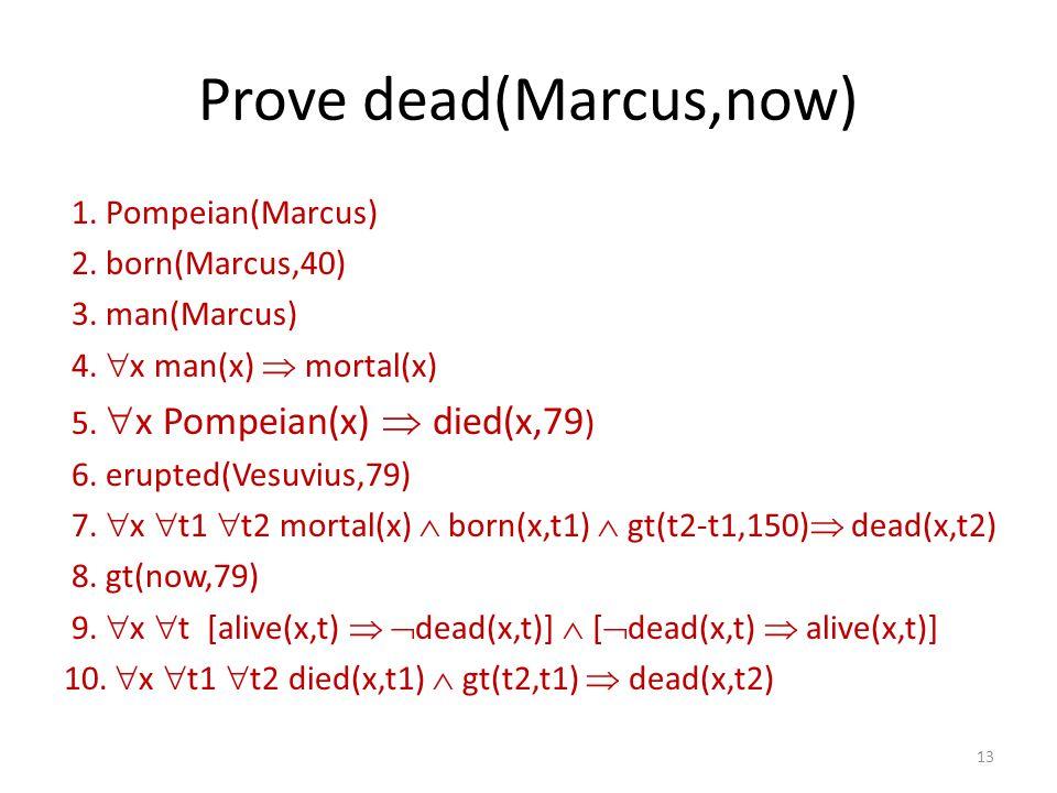 Prove dead(Marcus,now) 1. Pompeian(Marcus) 2. born(Marcus,40) 3. man(Marcus) 4.  x man(x)  mortal(x) 5.  x Pompeian(x)  died(x,79 ) 6. erupted(Ves
