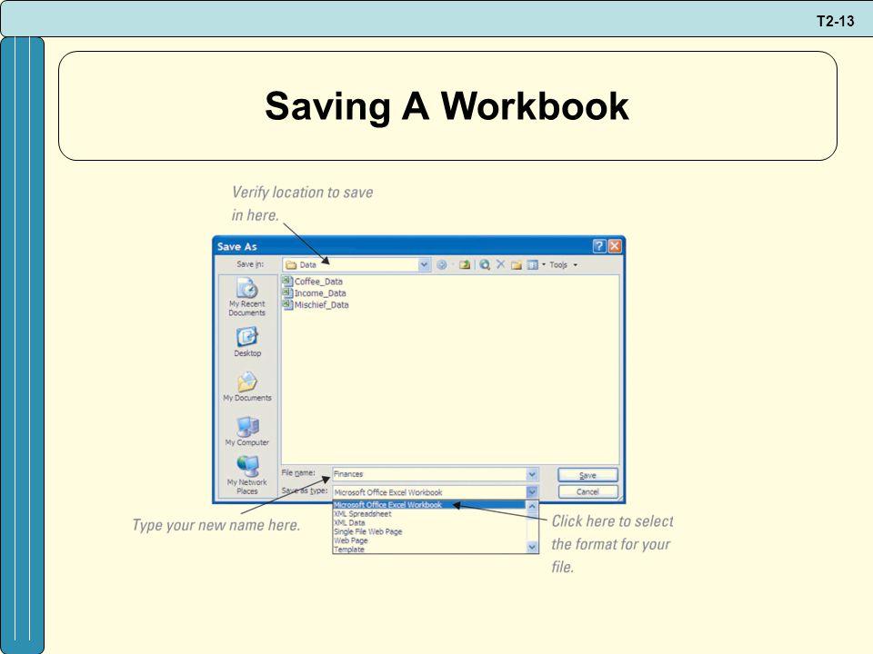 T2-13 Saving A Workbook