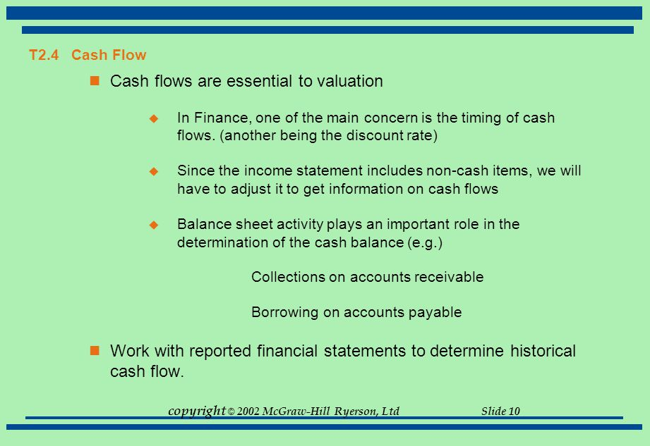 copyright © 2002 McGraw-Hill Ryerson, Ltd Slide 10 T2.4 Cash Flow Cash flows are essential to valuation  In Finance, one of the main concern is the t