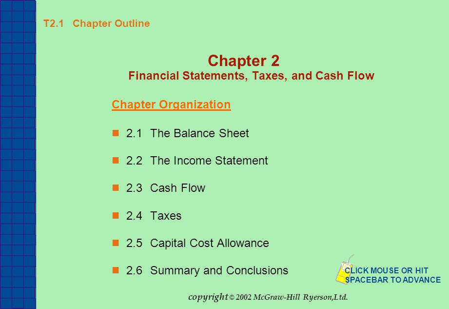 T2.1 Chapter Outline Chapter 2 Financial Statements, Taxes, and Cash Flow Chapter Organization 2.1The Balance Sheet 2.2The Income Statement 2.3Cash Fl