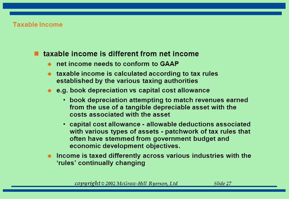 copyright © 2002 McGraw-Hill Ryerson, Ltd Slide 27 Taxable Income taxable income is different from net income  net income needs to conform to GAAP 
