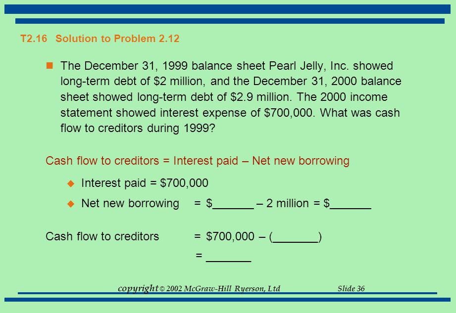copyright © 2002 McGraw-Hill Ryerson, Ltd Slide 36 T2.16 Solution to Problem 2.12 The December 31, 1999 balance sheet Pearl Jelly, Inc. showed long-te