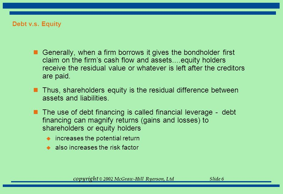 copyright © 2002 McGraw-Hill Ryerson, Ltd Slide 6 Debt v.s. Equity Generally, when a firm borrows it gives the bondholder first claim on the firm's ca