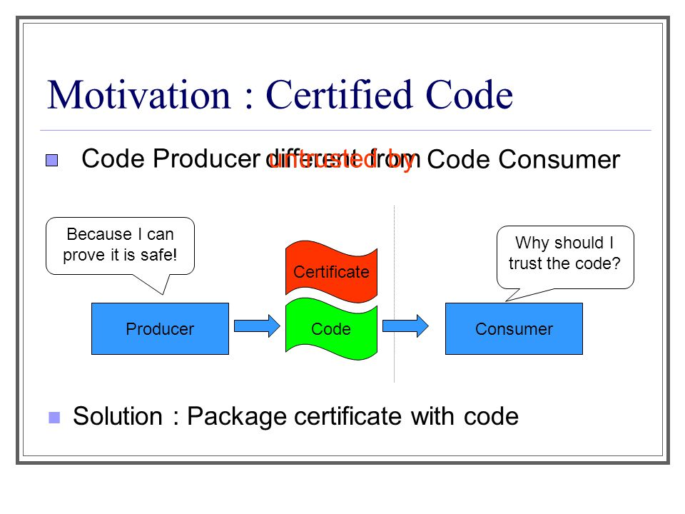 Certificate Certificate is machine-checkable proof of safety Key questions: What is safety .