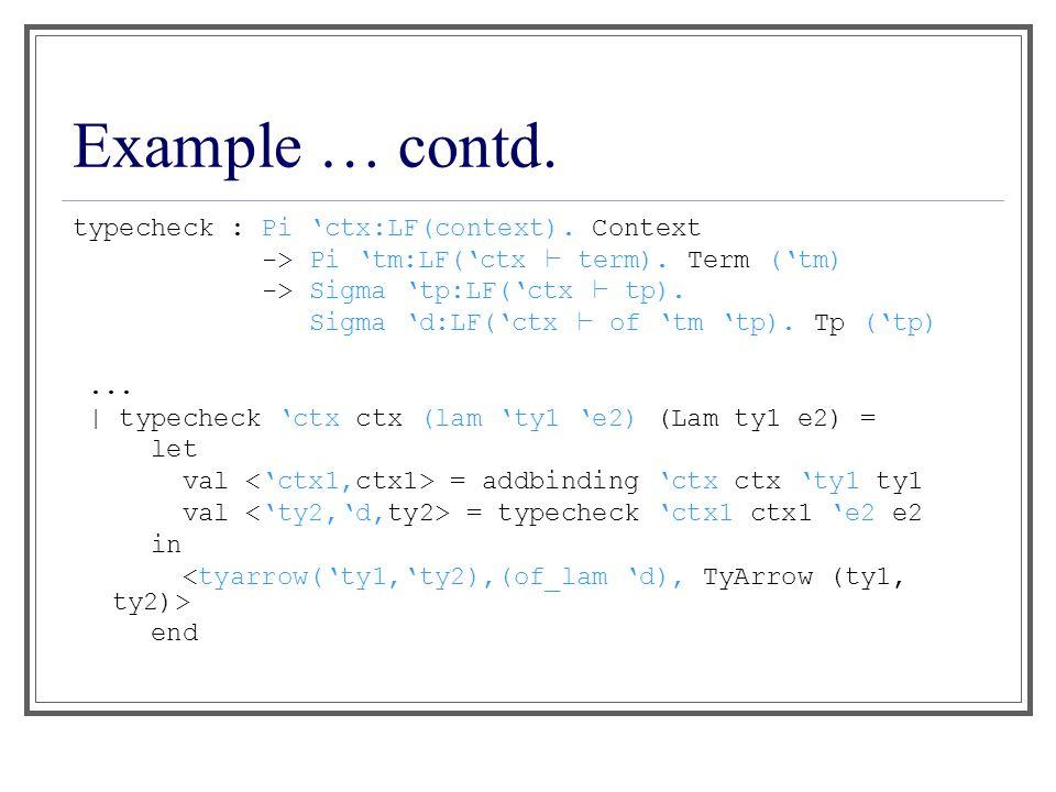 Example … contd. typecheck : Pi 'ctx:LF(context).
