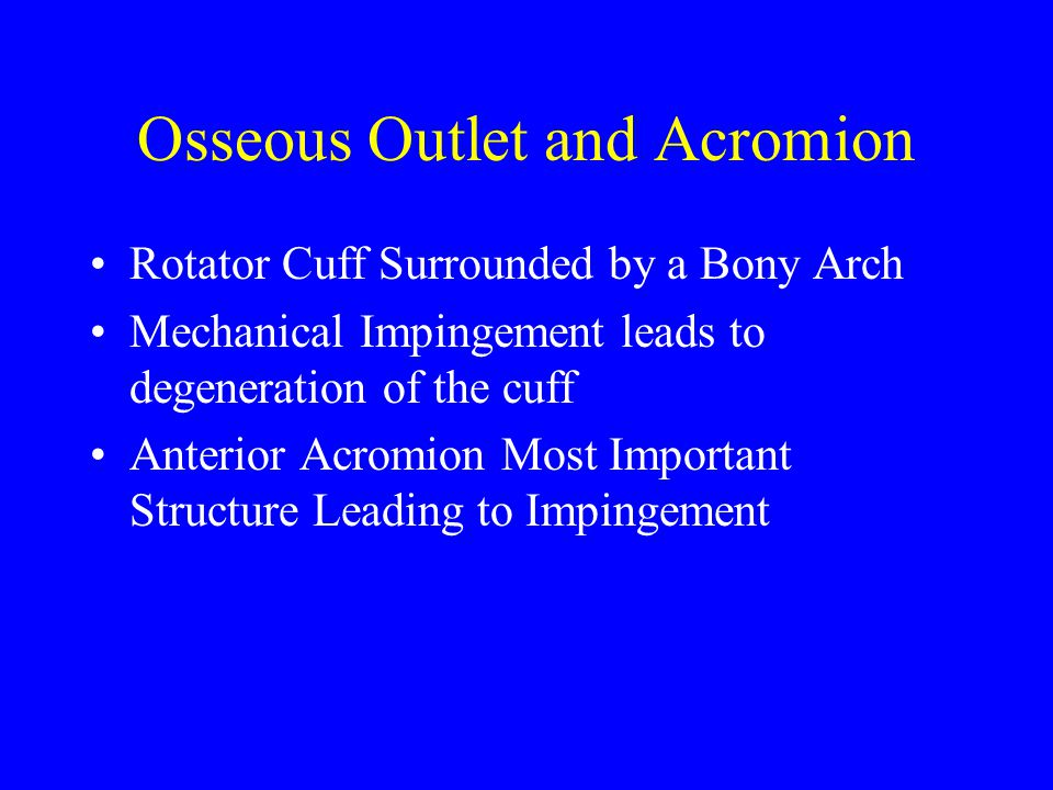 Osseous Outlet and Acromion Rotator Cuff Surrounded by a Bony Arch Mechanical Impingement leads to degeneration of the cuff Anterior Acromion Most Imp