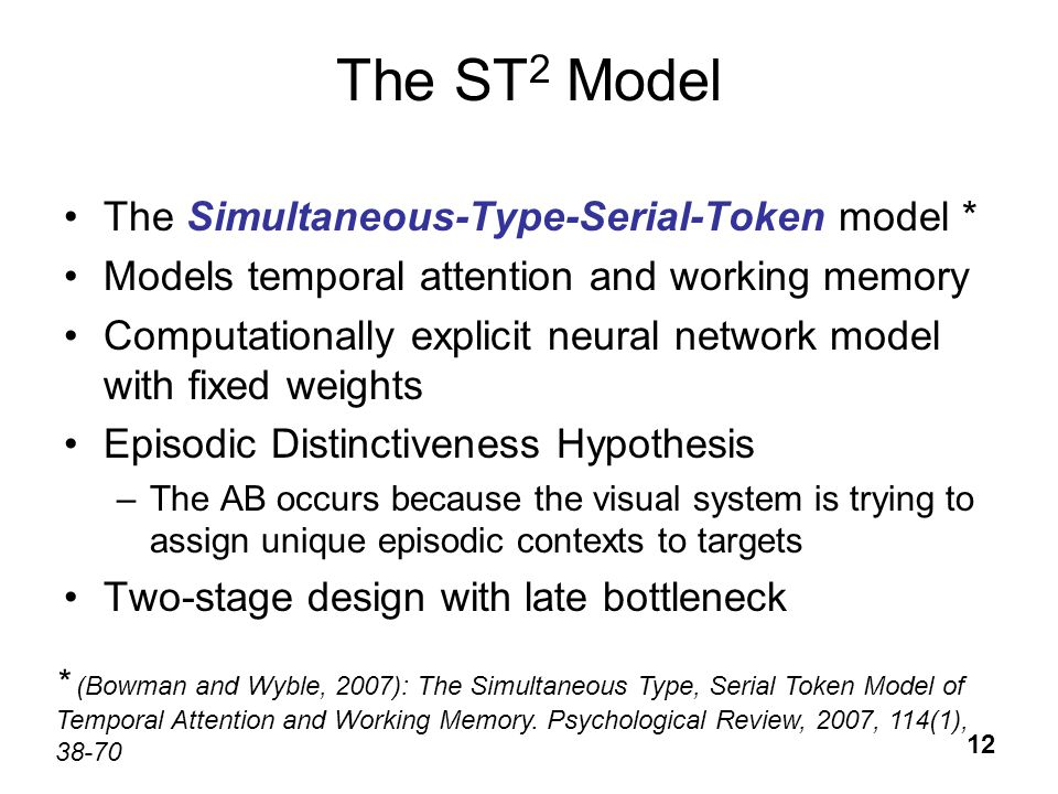 12 The ST 2 Model The Simultaneous-Type-Serial-Token model * Models temporal attention and working memory Computationally explicit neural network mode