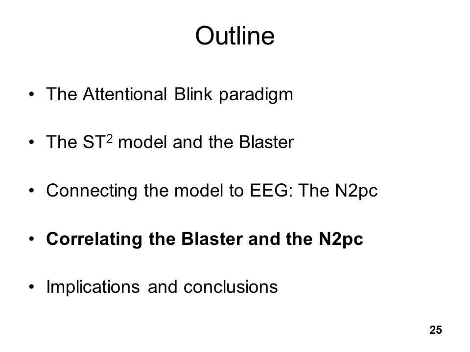 25 Outline The Attentional Blink paradigm The ST 2 model and the Blaster Connecting the model to EEG: The N2pc Correlating the Blaster and the N2pc Im