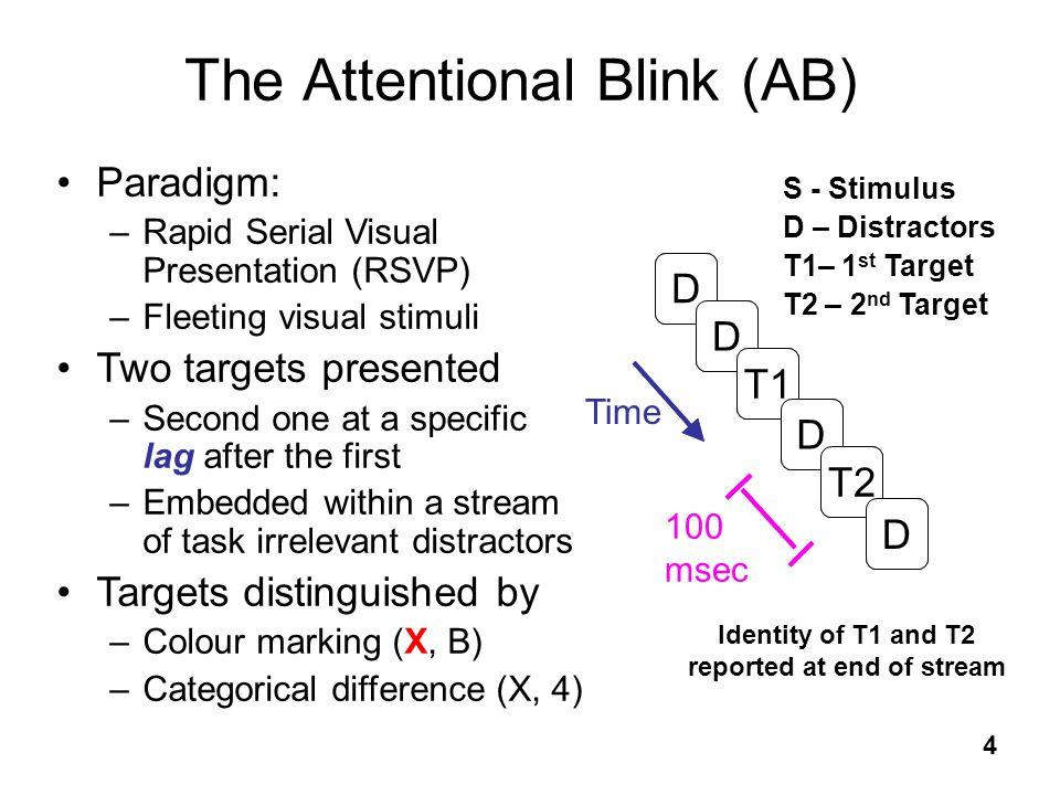 4 S S S S S S The Attentional Blink (AB) D D T1 D T2 D S - Stimulus D – Distractors T1– 1 st Target T2 – 2 nd Target Paradigm: –Rapid Serial Visual Pr