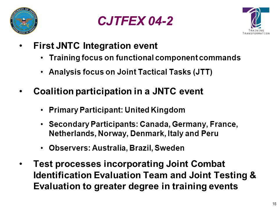 18 CJTFEX 04-2 First JNTC Integration event Training focus on functional component commands Analysis focus on Joint Tactical Tasks (JTT) Coalition par