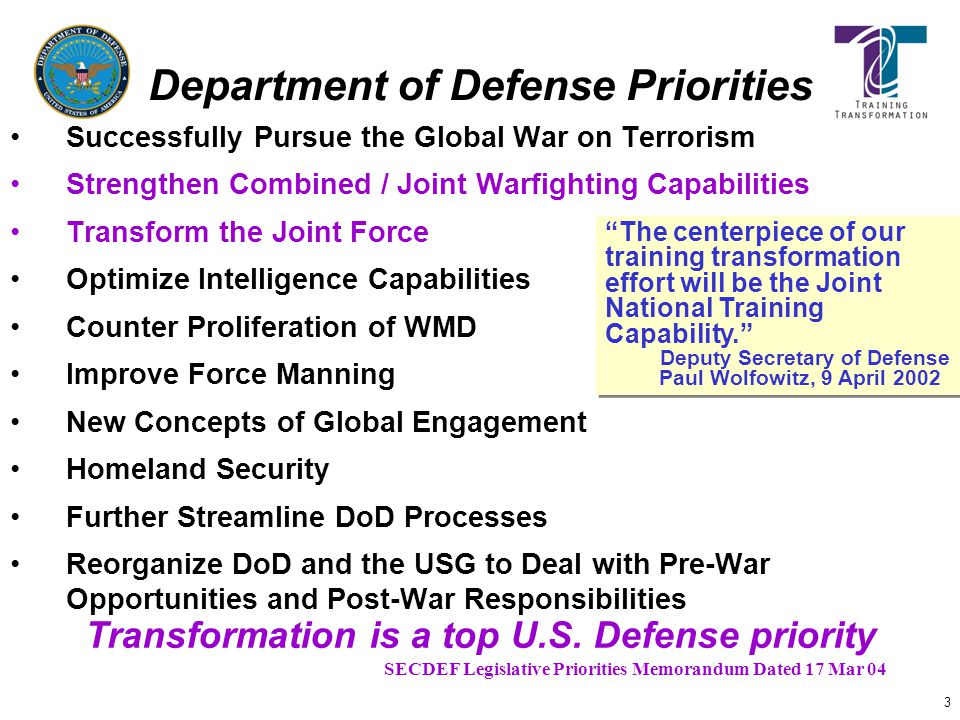 3 Successfully Pursue the Global War on Terrorism Strengthen Combined / Joint Warfighting Capabilities Transform the Joint Force Optimize Intelligence