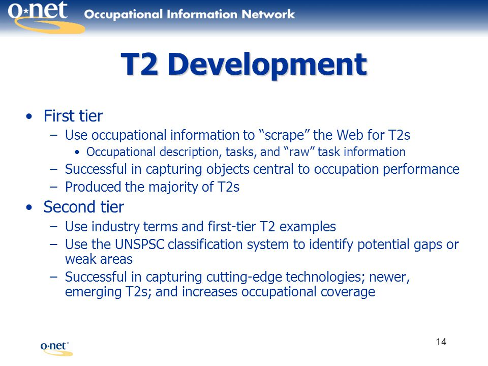 14 T2 Development First tier –Use occupational information to scrape the Web for T2s Occupational description, tasks, and raw task information –Successful in capturing objects central to occupation performance –Produced the majority of T2s Second tier –Use industry terms and first-tier T2 examples –Use the UNSPSC classification system to identify potential gaps or weak areas –Successful in capturing cutting-edge technologies; newer, emerging T2s; and increases occupational coverage