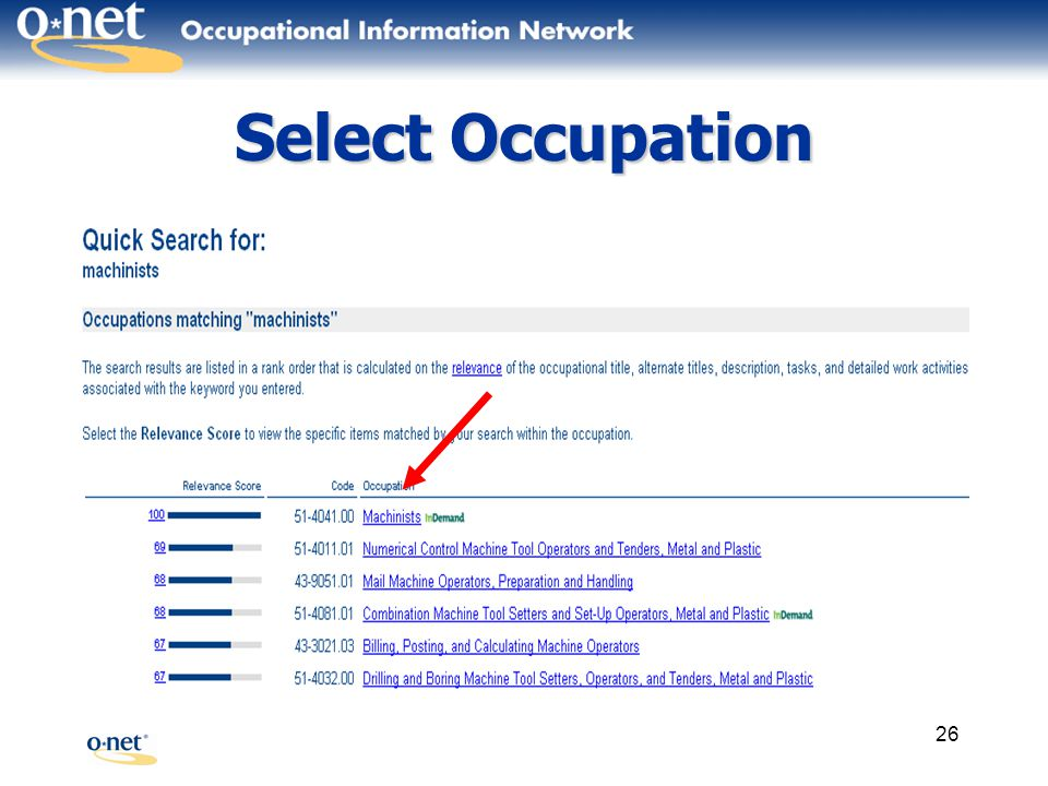 26 Select Occupation