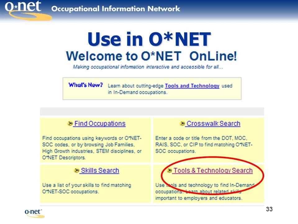 33 Use in O*NET