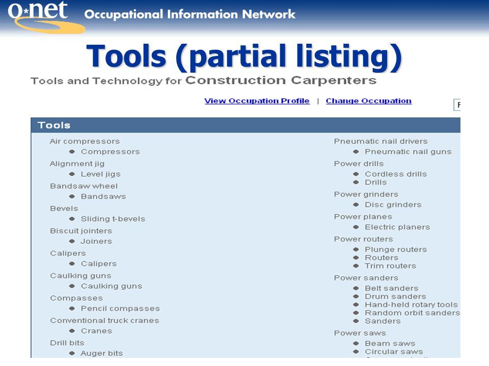 45 Tools (partial listing)