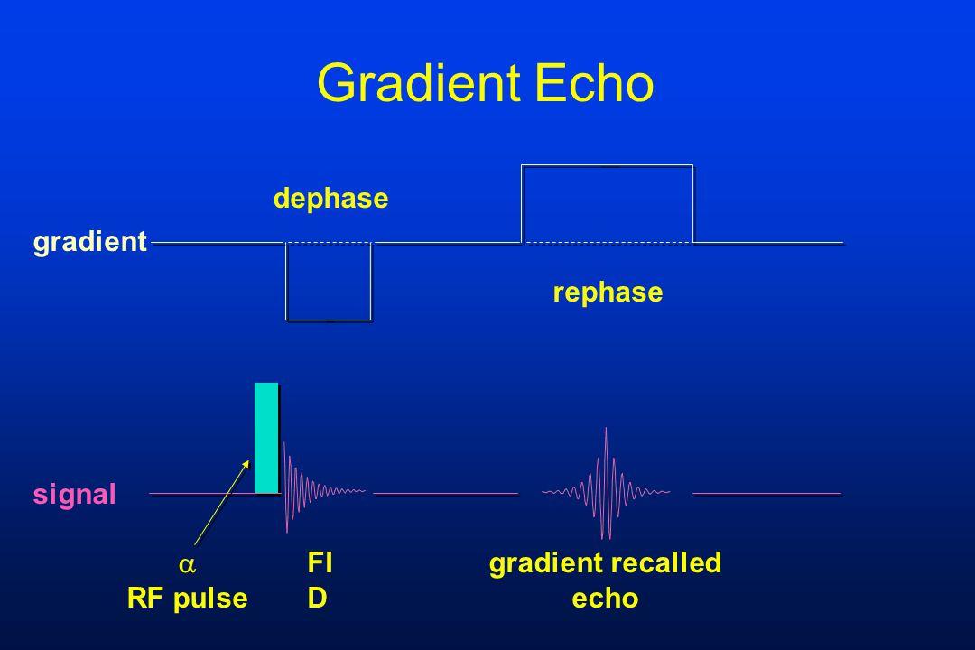 Gradient Echo FI D gradient recalled echo  RF pulse rephase dephase signal gradient