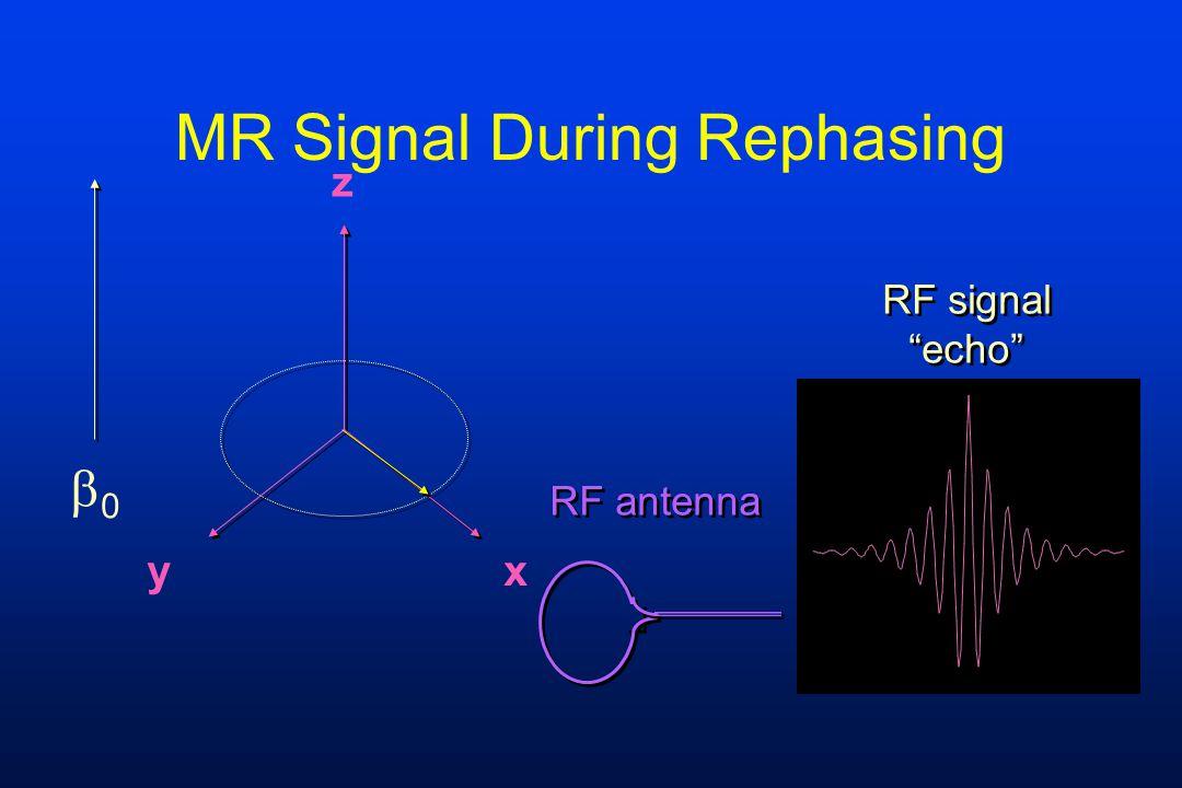 """MR Signal During Rephasing z yx RF signal """"echo"""" RF signal """"echo"""" RF antenna 00"""