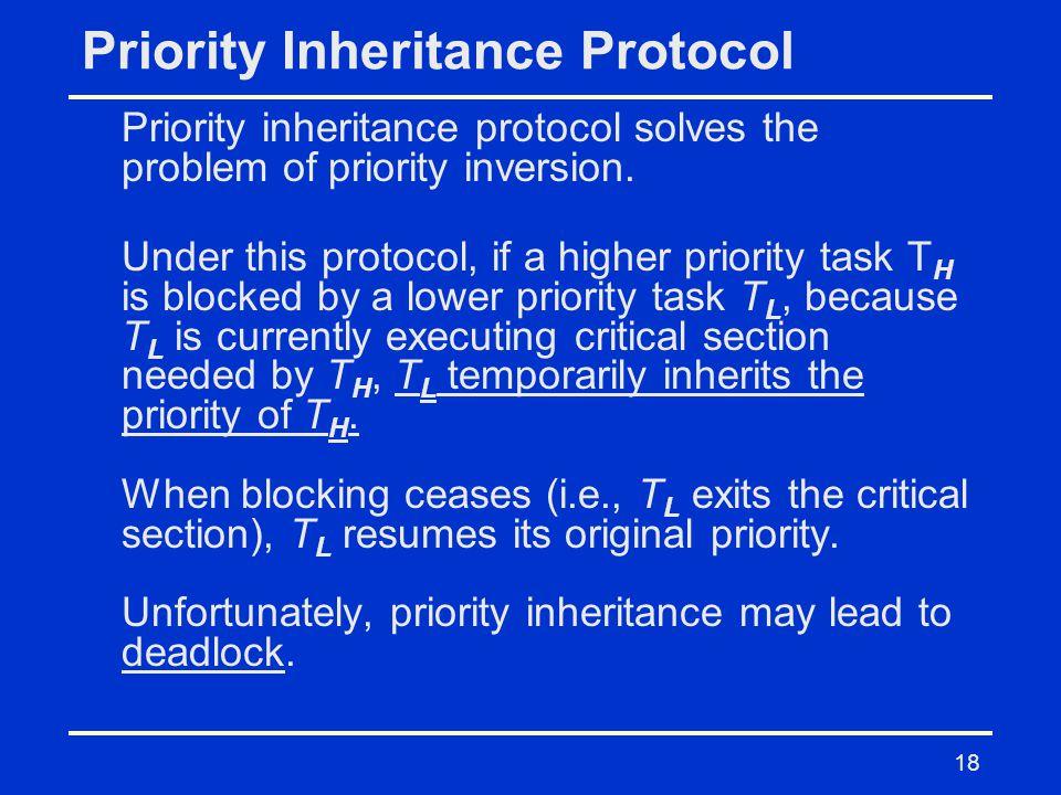 18 Priority Inheritance Protocol Priority inheritance protocol solves the problem of priority inversion.