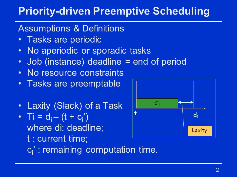 2 Priority-driven Preemptive Scheduling Assumptions & Definitions Tasks are periodic No aperiodic or sporadic tasks Job (instance) deadline = end of period No resource constraints Tasks are preemptable Laxity (Slack) of a Task Ti = d i – (t + c i ') where di: deadline; t : current time; c i ' : remaining computation time.