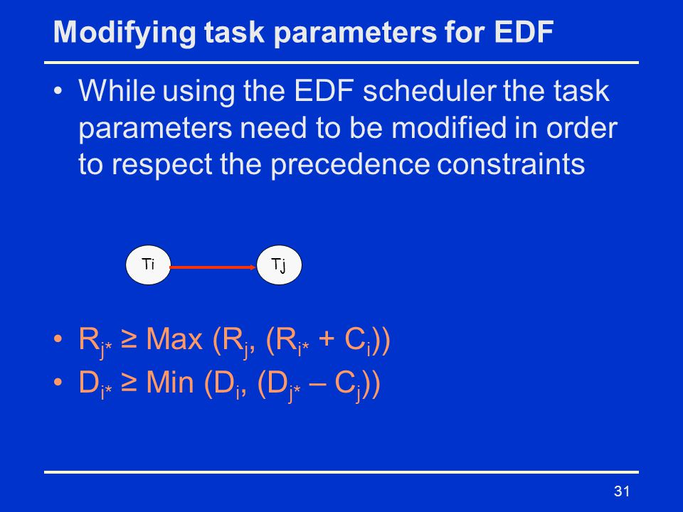 31 Modifying task parameters for EDF While using the EDF scheduler the task parameters need to be modified in order to respect the precedence constraints R j* ≥ Max (R j, (R i* + C i )) D i* ≥ Min (D i, (D j* – C j )) TiTj
