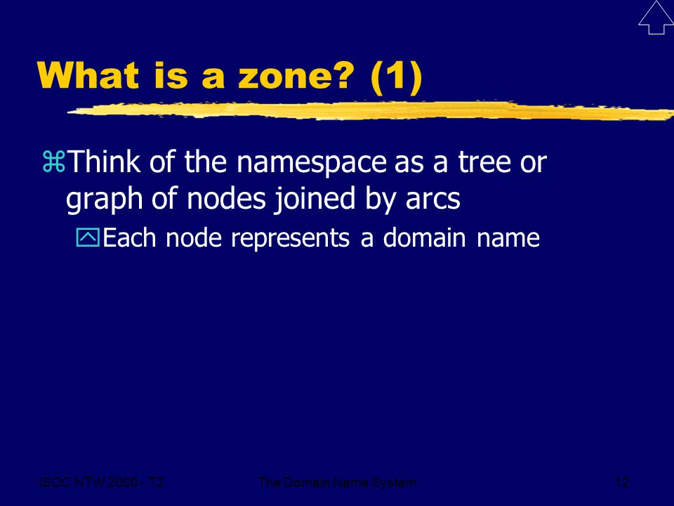 ISOC NTW 2000 - T2The Domain Name System12 What is a zone? (1) zThink of the namespace as a tree or graph of nodes joined by arcs yEach node represent