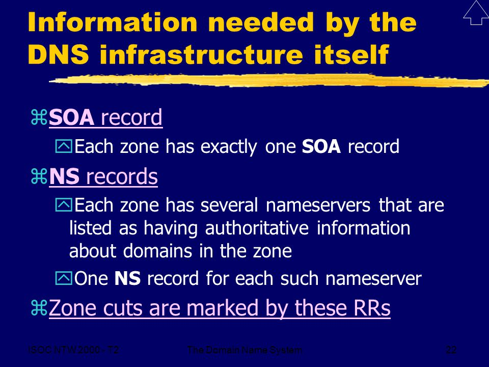 ISOC NTW T2The Domain Name System22 Information needed by the DNS infrastructure itself zSOA recordSOA record yEach zone has exactly one SOA record zNS recordsNS records yEach zone has several nameservers that are listed as having authoritative information about domains in the zone yOne NS record for each such nameserver zZone cuts are marked by these RRsZone cuts are marked by these RRs