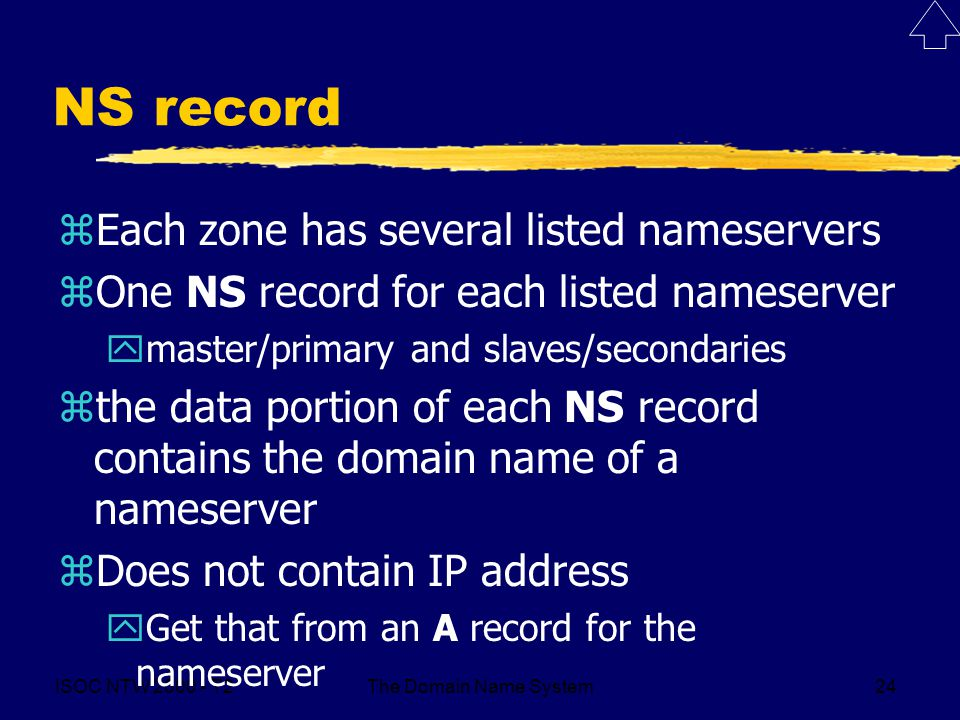 ISOC NTW T2The Domain Name System24 NS record zEach zone has several listed nameservers zOne NS record for each listed nameserver ymaster/primary and slaves/secondaries zthe data portion of each NS record contains the domain name of a nameserver zDoes not contain IP address yGet that from an A record for the nameserver