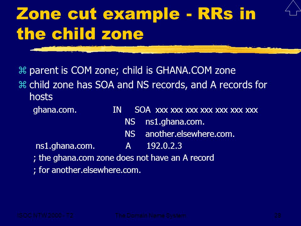 ISOC NTW T2The Domain Name System28 Zone cut example - RRs in the child zone zparent is COM zone; child is GHANA.COM zone zchild zone has SOA and NS records, and A records for hosts ghana.com.
