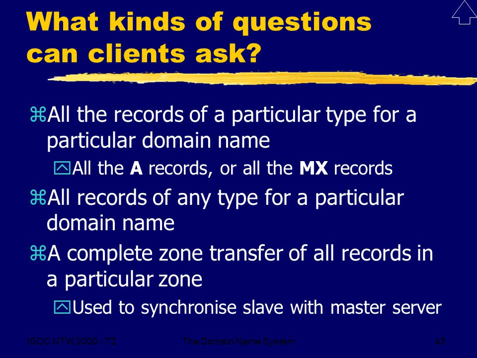 ISOC NTW T2The Domain Name System43 What kinds of questions can clients ask.