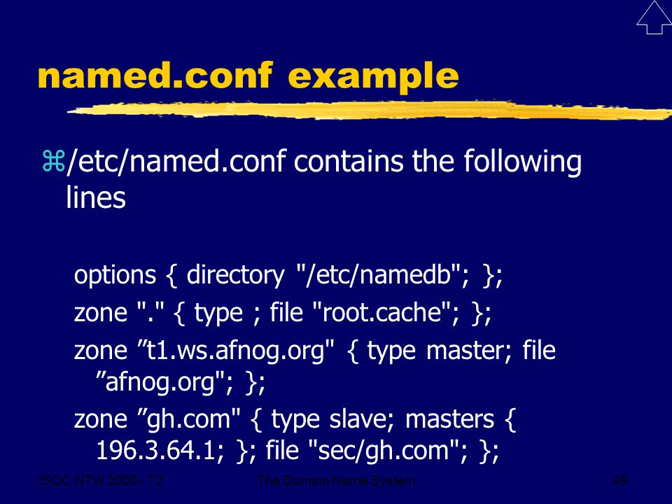 ISOC NTW 2000 - T2The Domain Name System49 named.conf example z/etc/named.conf contains the following lines options { directory