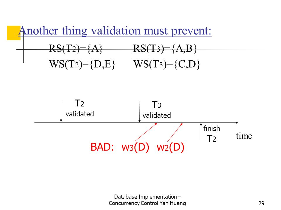 Database Implementation – Concurrency Control Yan Huang29 Another thing validation must prevent: RS(T 2 )={A} RS(T 3 )={A,B} WS(T 2 )={D,E} WS(T 3 )={C,D} time T 2 validated T 3 validated finish T 2 BAD: w 3 (D) w 2 (D)