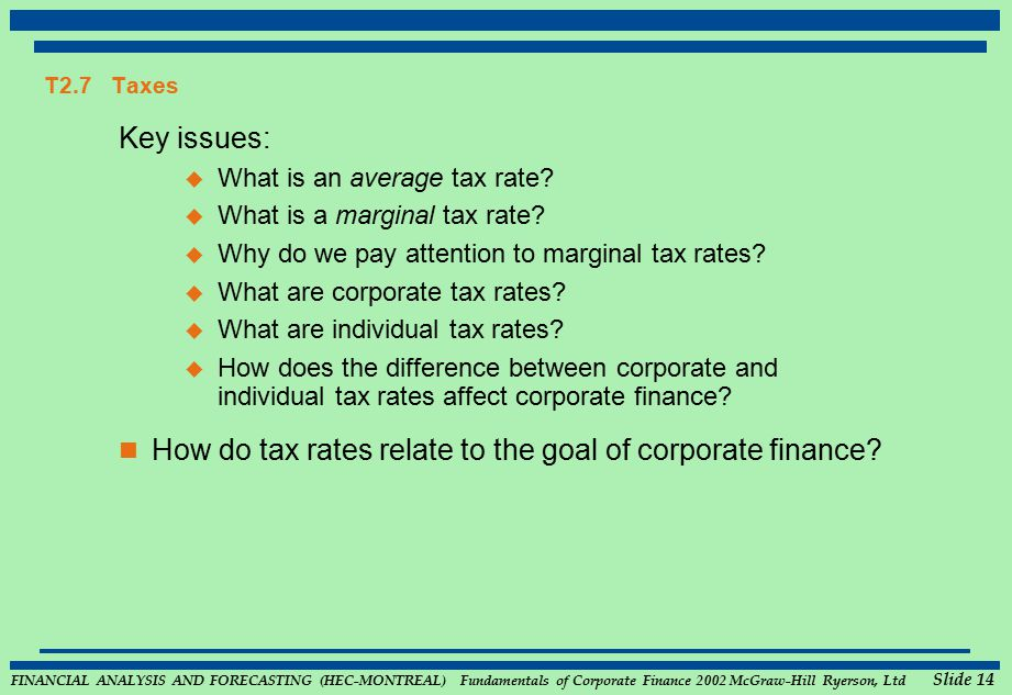 FINANCIAL ANALYSIS AND FORECASTING (HEC-MONTREAL) Fundamentals of Corporate Finance 2002 McGraw-Hill Ryerson, Ltd Slide 14 T2.7 Taxes Key issues:  What is an average tax rate.