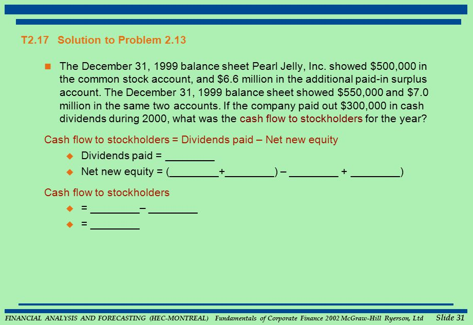FINANCIAL ANALYSIS AND FORECASTING (HEC-MONTREAL) Fundamentals of Corporate Finance 2002 McGraw-Hill Ryerson, Ltd Slide 31 T2.17 Solution to Problem 2.13 The December 31, 1999 balance sheet Pearl Jelly, Inc.