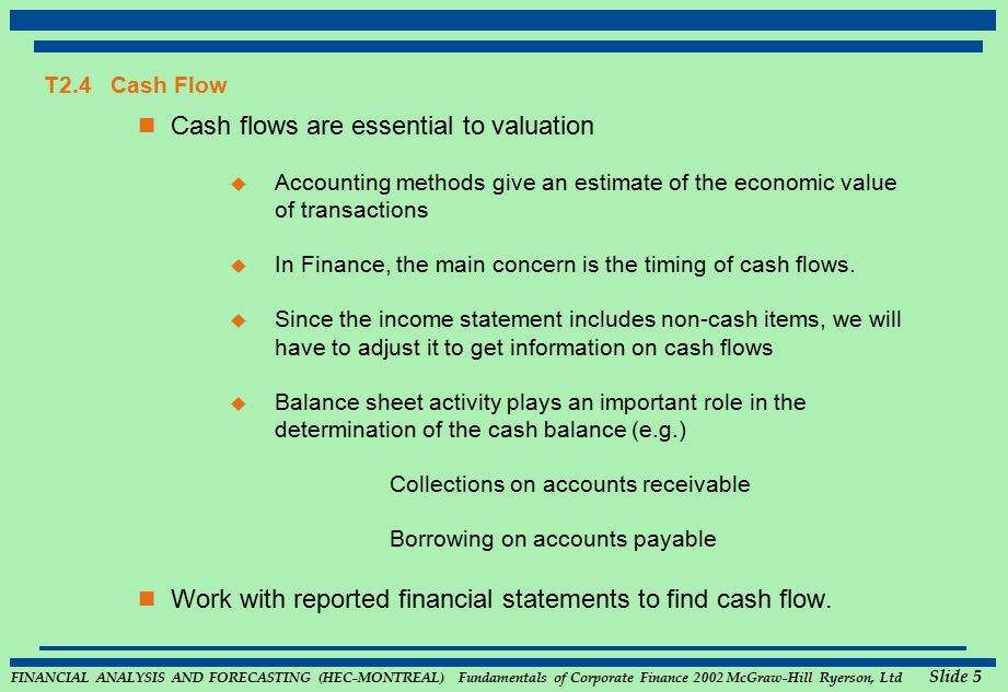 FINANCIAL ANALYSIS AND FORECASTING (HEC-MONTREAL) Fundamentals of Corporate Finance 2002 McGraw-Hill Ryerson, Ltd Slide 5 T2.4 Cash Flow Cash flows ar