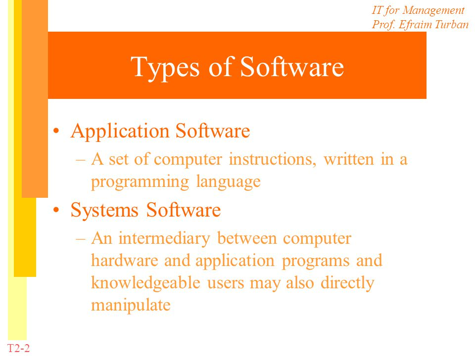 IT for Management Prof. Efraim Turban T2-2 Types of Software Application Software –A set of computer instructions, written in a programming language S
