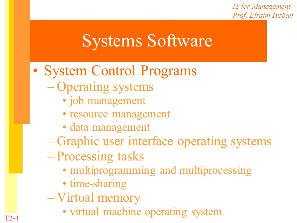 IT for Management Prof. Efraim Turban T2-4 Systems Software System Control Programs –Operating systems job management resource management data managem