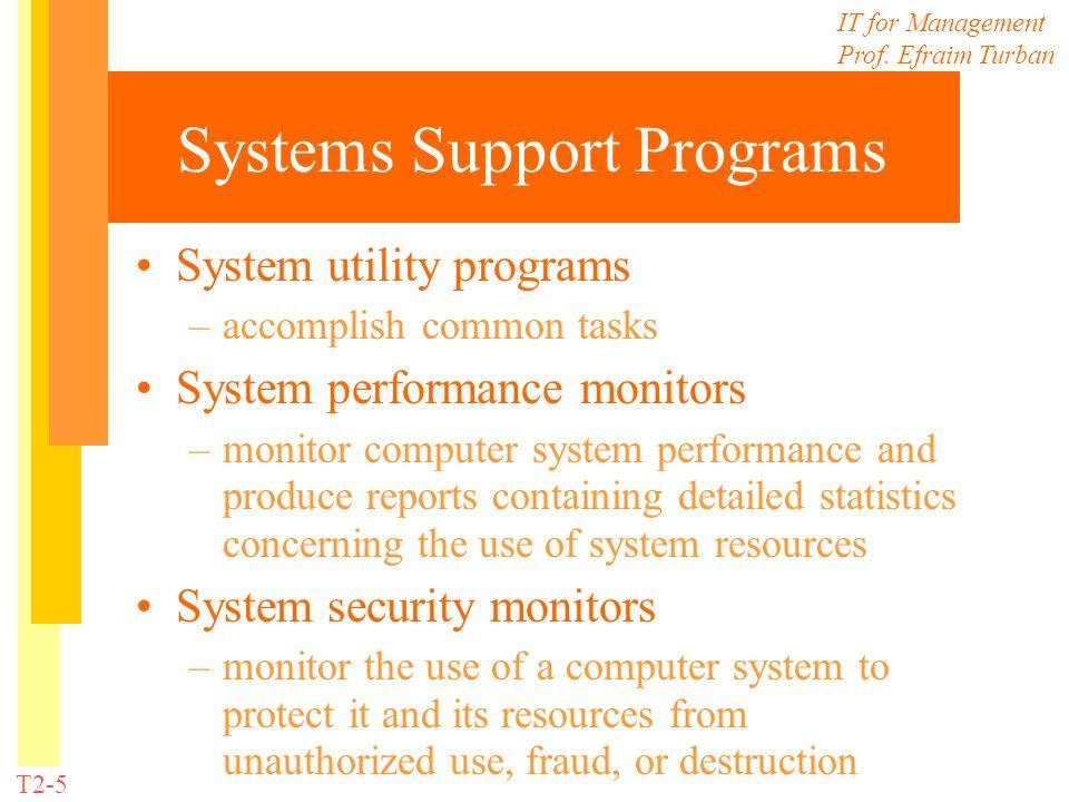 IT for Management Prof. Efraim Turban T2-5 Systems Support Programs System utility programs –accomplish common tasks System performance monitors –moni