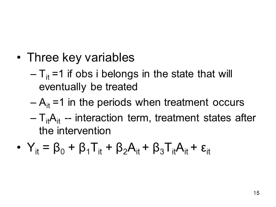 15 Three key variables –T it =1 if obs i belongs in the state that will eventually be treated –A it =1 in the periods when treatment occurs –T it A it