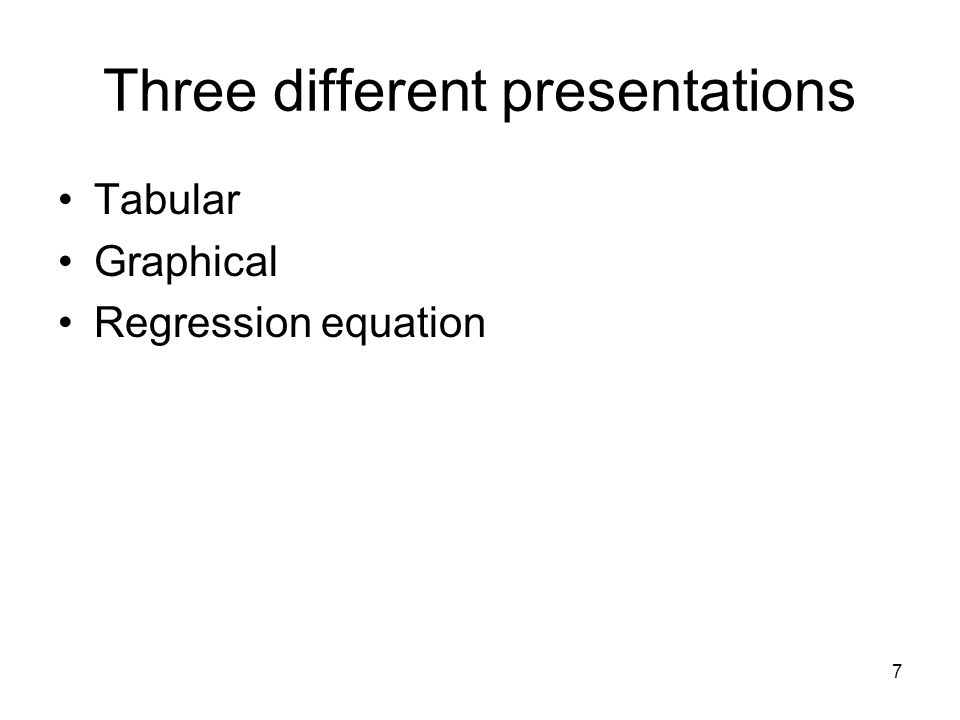 7 Three different presentations Tabular Graphical Regression equation