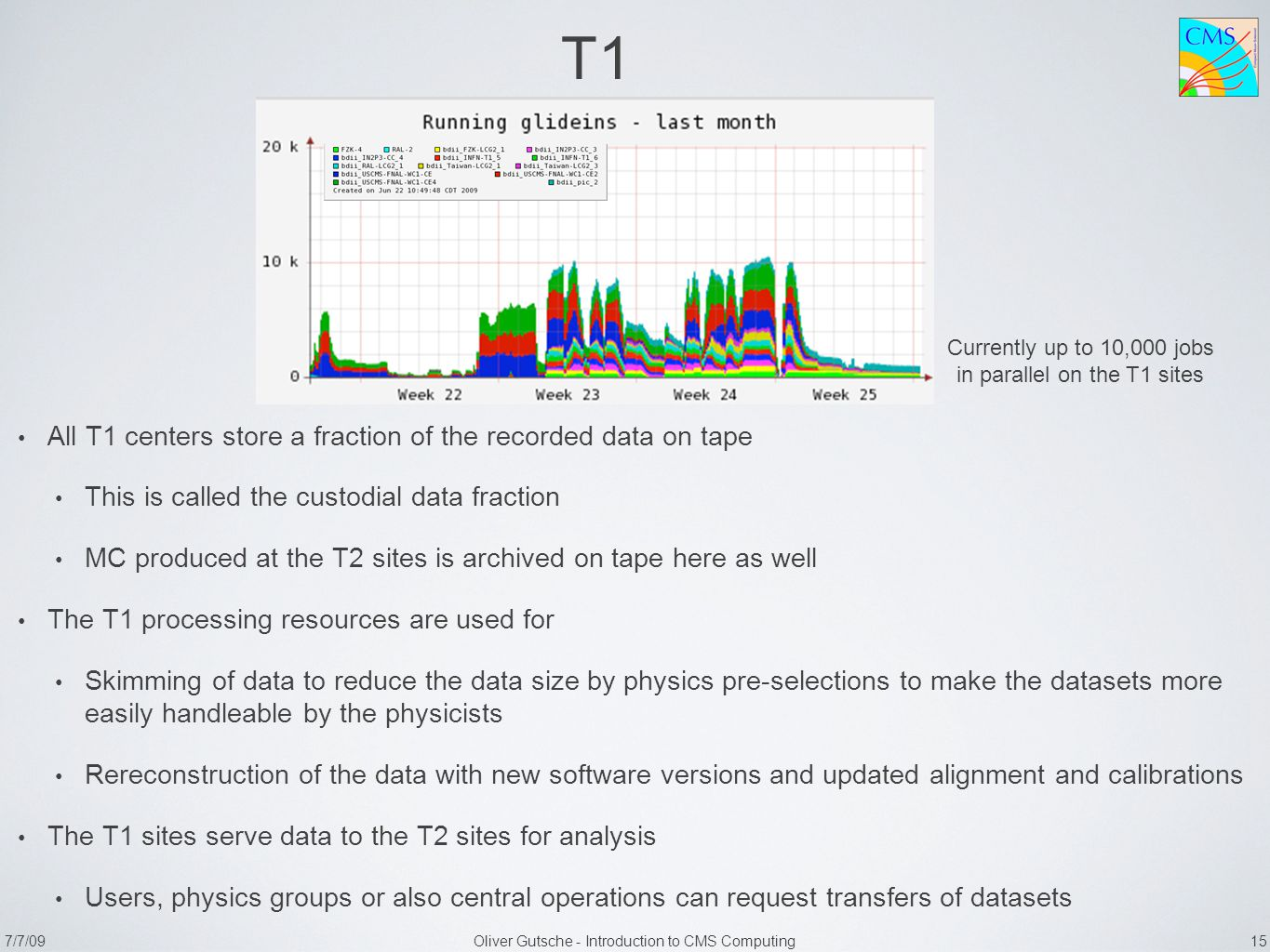 7/7/09Oliver Gutsche - Introduction to CMS Computing 15 T1 All T1 centers store a fraction of the recorded data on tape This is called the custodial data fraction MC produced at the T2 sites is archived on tape here as well The T1 processing resources are used for Skimming of data to reduce the data size by physics pre-selections to make the datasets more easily handleable by the physicists Rereconstruction of the data with new software versions and updated alignment and calibrations The T1 sites serve data to the T2 sites for analysis Users, physics groups or also central operations can request transfers of datasets Currently up to 10,000 jobs in parallel on the T1 sites