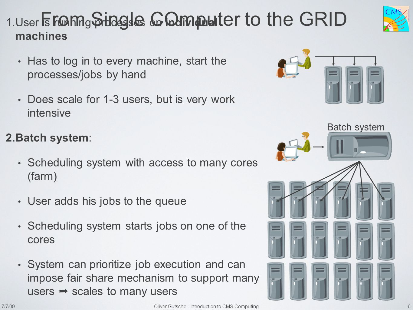 7/7/09Oliver Gutsche - Introduction to CMS Computing 6 From Single COmputer to the GRID 1. User is running processes on individual machines Has to log