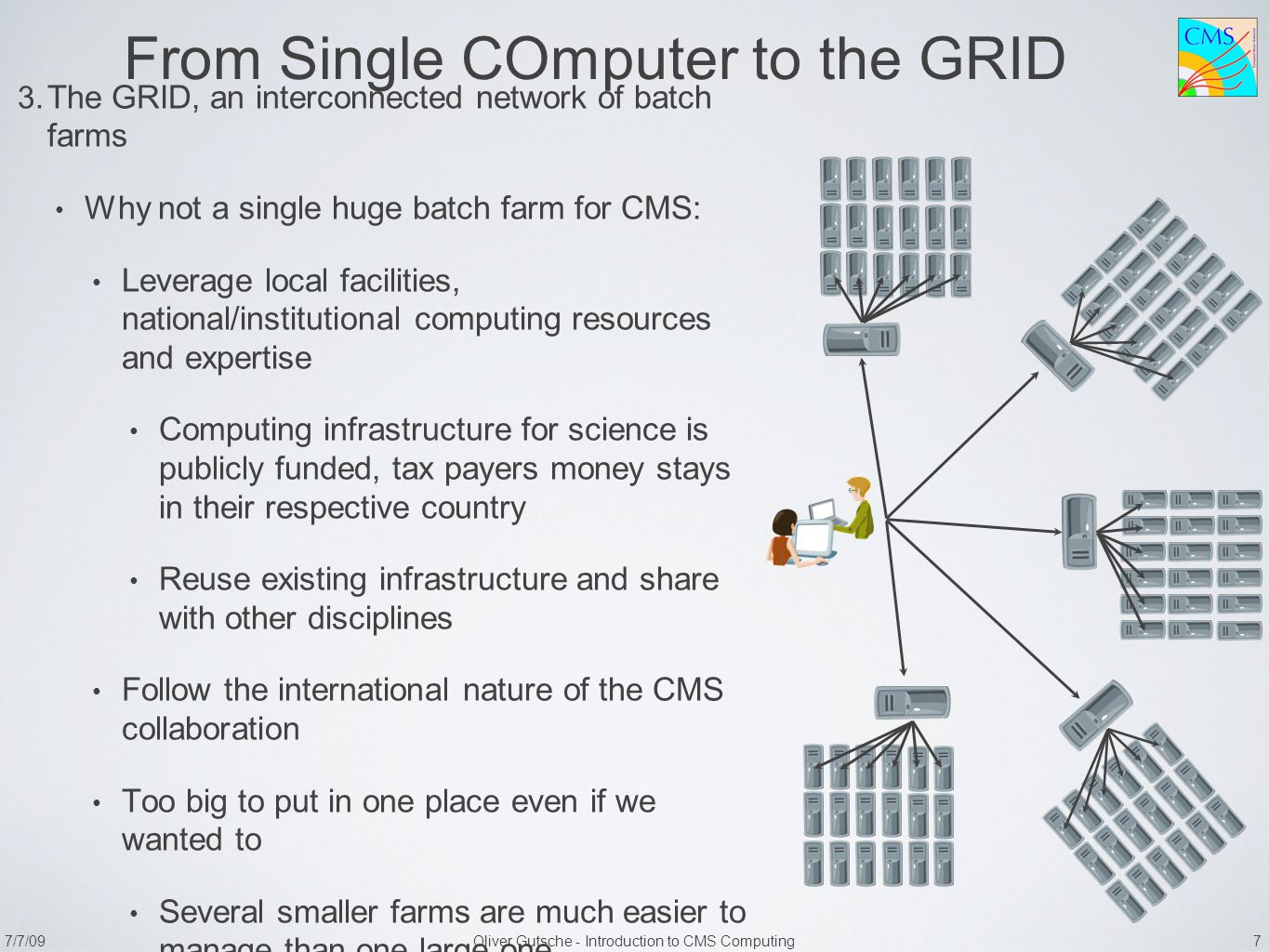 7/7/09Oliver Gutsche - Introduction to CMS Computing 7 From Single COmputer to the GRID 3.