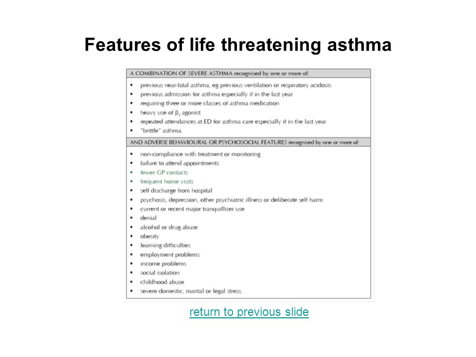 Features of life threatening asthma return to previous slide